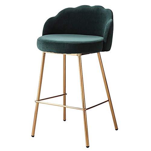 IAIZI barkruk Moderne hangstoel met ergonomische rugleuning   Green velvet zitting   gegalvaniseerd metalen poten   teller stoel keuken ontbijt barkruk