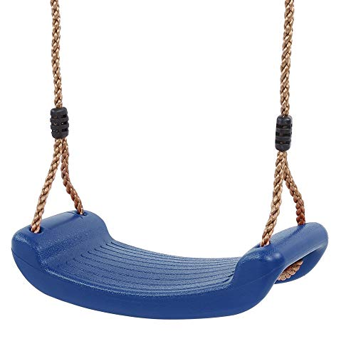 Dioche Plastic Swing Children's Swing Seat PVC Swing for Indoor and Outdoor Use Garden Outdoor Children's Swing with Height Adjustable Rope (Blue)