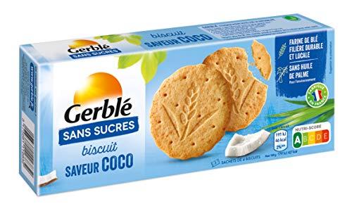 Gerblé Biscuits saveur Coco Sans Sucres, Sans huile de palme, 12 biscuits, 132g, 198916