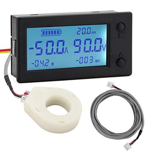 Battery Monitor, DROK Amp Volt Power Watt Meter DC 0-300V 200A STN LCD Display Panel Meter, Current Voltage Energy Capacity Ammeter Voltmeter Multimeter Gauge with Hall Sensor, 2.5m Shielded Wire