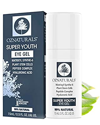 OZNaturals Anti Aging Eye Gel: Super Youth Eye Gel for Men and Women - Under Eye Treatment for Bags, Wrinkles, Crows Feet, Dark Circles, and Puffiness - Day and Night Anti Wrinkle Eye Gel - 0.5 Fl Oz from Oz Naturals