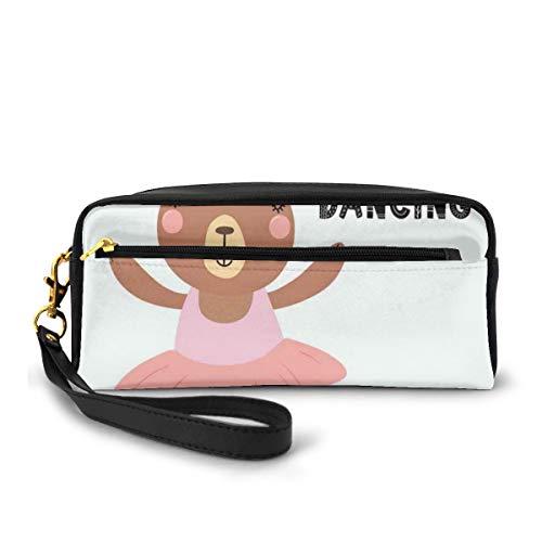 Pencil Case Pen Bag Pouch Stationair, Grappige Beer Ballerina In Een Tutu Pointe Schoenen Met Een Lettering Quote Ik hou van Dansen, Kleine Makeup Bag Coin Purse