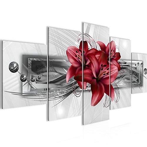 Bilder Blumen Lilien 5 Teilig Bild auf Vlies Leinwand Deko Wohnzimmer Abstrakt Grau Rot 008752c
