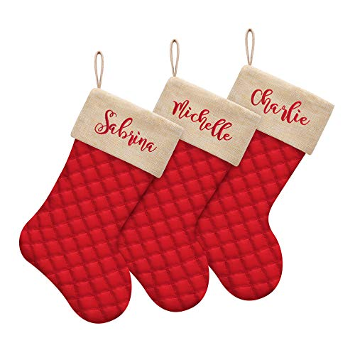 ElegantPark Personalized Christmas Stockings Set of 3 Cotton Quilted Large Luxury Burlap Embroidered Christmas Stocking for Xmas Holiday Fireplace Hanging Decoration Gifts for Family Kids Red