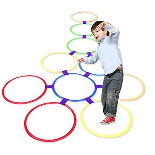Rayuela Anillo Que Juega Juega 10 Multicolor De Anillos De Plástico Y 9 Conectores Para Uso En Interiores O Al Aire Libre, La Diversión Creativa Set De Juegos Para Niñas Y Niños Opción Ideal