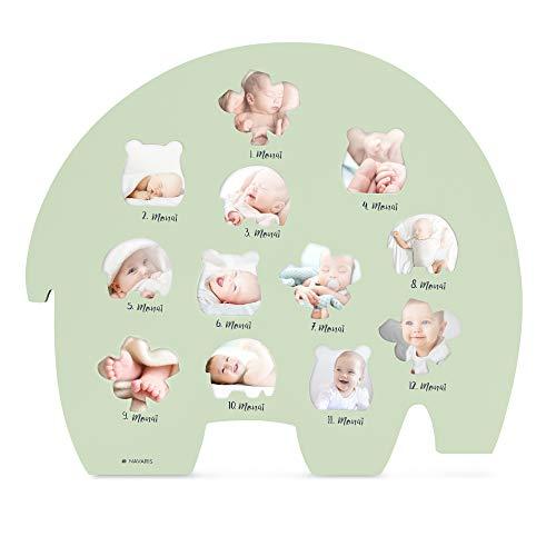 Navaris Bilderrahmen für Baby Bilder - Monatsbilderrahmen für die ersten 12 Monate - Holzfaser Rahmen für Baby Fotos - erstes Lebensjahr - Deutsch