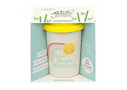 Grafik Werkstatt Bambus Kaffe-Becher | Coffee-to-Go | Geschenk | Bamboo-to-Go | Dankeschön | 350 ml | Sonnenschein