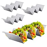 Taco Holders, Stainless Steel Taco Stand Plates 4 Packs, Premium Taco Tray for Taco Tuesday, Taco Stand Rack with Easy-Lifting Handles, Dishwasher, Oven and Grill Safe