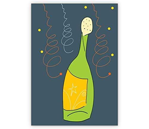 Wenskaarten met korting voor hoeveelheid: een magnum fles als oudejaarsgroet met de beste wensen van het nieuwe jaar. • Als leuke kerstwenskaart met envelop voor Nieuwjaar, oudejaarsavond voor familie en bedrijf 10 Grußkarten