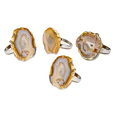 Godinger Silver Art Agate Napkin Rings - Natural, Set of 4