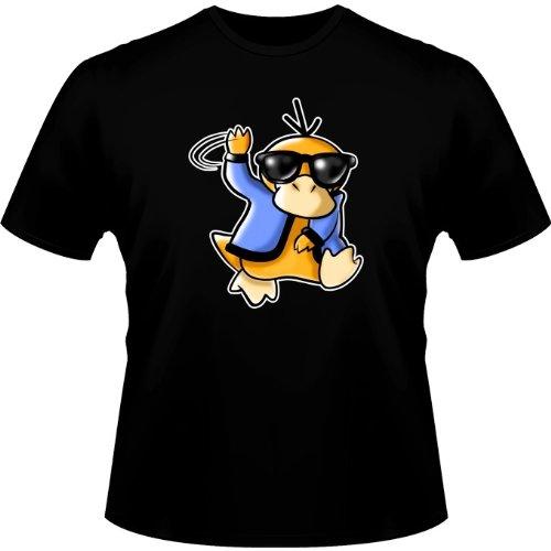 Okiwoki T-Shirt Noir Pokémon parodique Psykokwak réalisant Le Gangnam Style : Gangduck Style by Psyko : (Parodie Pokémon)