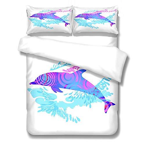 Fundas nordicas Cama 105 delfín Impresa en 3D Funda nórdica 200 x 200 cm con Cierre de Cremallera y 2 Funda de Almohada 50x75cm Juego de Cama niñas niño