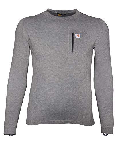 Carhartt Camisa masculina de manga comprida com bolso e camada de base térmica, Shadow Heather, S