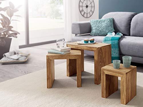 KADIMA DESIGN Design modern 3er Set Satztisch IABMUM Massiv-Holz Akazie Wohnzimmer-Tisch im Landhaus-Stil Beistelltisch dunkel-braun Naturholz