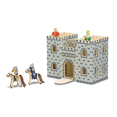 Melissa & Doug- Fold and go Castillo, Color Gris (13702)