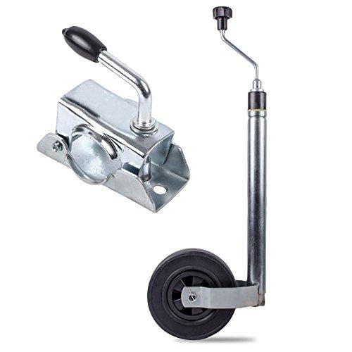 ProPlus Stützrad 48 mm mit Stüzlastwaage 125 Kg inkl 48 mm Klemmschelle für Wohnwagen, Wohnmobil und Anhänger