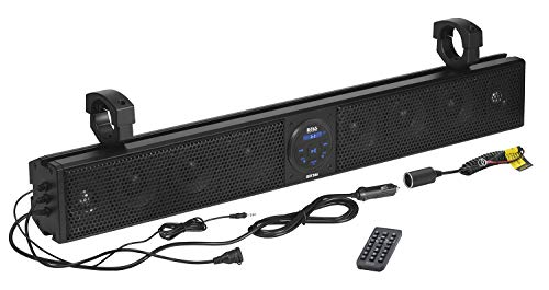 BOSS Audio Systems BRT26A UTV Sound Bar - 26 Inch Wide, IPX5 Rated Weatherproof, Bluetooth, Amplified, 4 Inch Speakers, Soft Dome Tweeters, Easy Installation for Dune Buggies, Jeeps, Rock Crawlers