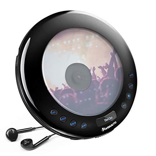 NAVISKAUTO CD Player Tragbar 2000mAh Discman CD-Walkman FM Transmitter Skip Schutz CD/MP3/WMA/CD-R/ CD-RW für Auto Zuhause Reisen mit Kopfhörer