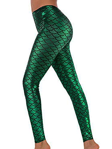 Alaroo Shiny Fish Scale Mermaid Leggings for Women Pants Green XL