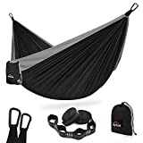 AnorTrek Camping Hammock, Super Lightweight Portable Parachute Hammock with Two Tree Straps (Each 5+1 Loops), Single & Double Nylon Hammock for Camping Backpacking Travel Hiking