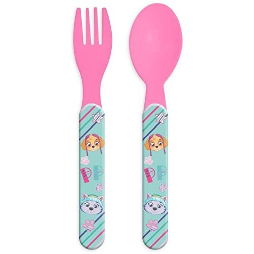 Set de couverts Plastique pour enfant Pat'Patrouille ROSE - Fourchette Couteau Repas Bebe - 617