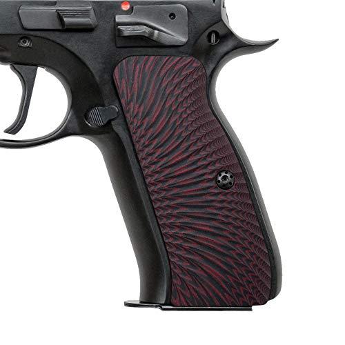 Cool Hand G10 Grips for CZ 75 Full Size, Sunburst Texture, Brand, Dark Red/Black