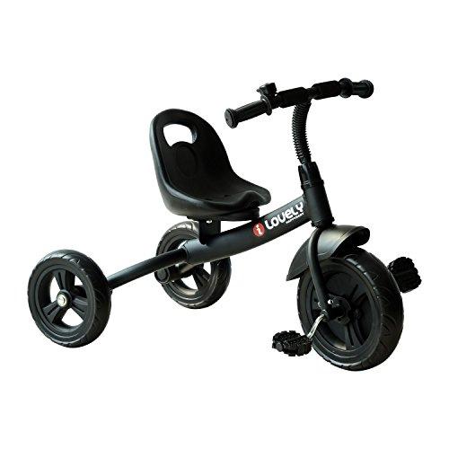 homcom Triciclo per Bimbo con Campanello, Parafango, Ruota Speciale, Nero, 74x49x55cm