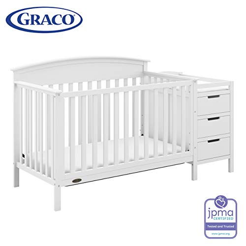 Graco Benton 4-in-1 Convertible Crib and Changer (White) – Attached Changing Table with Water-Resistant Changing Pad, Space-Saving Storage with 3 Drawers and 3 Open Shelves