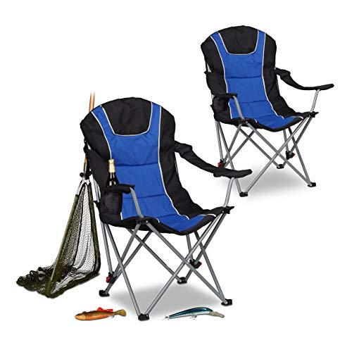 Relaxdays 2X Campingstuhl faltbar, gepolsterte Lehne, verstellbar, Angelstuhl, Faltsessel, HBT: ca. 108 x 90 x 72 cm, blau-schwarz