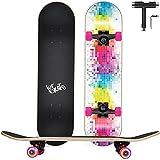 Skateboard Completo, Funxim Tabla de Skateboard 31 x 8 Pulgadas 4 Ruedas 7 Capas Madera de Arce Doble Patada Rueda Completa para Monopatín Skateboard para Principiantes Jóvenes Niños (Color)
