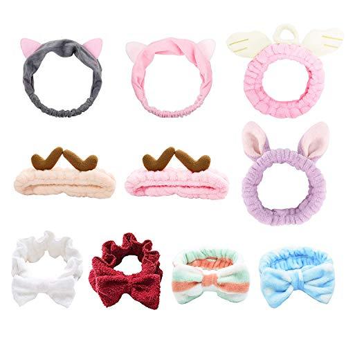 10 paquetes de bandas para el cabello lavables, bandas para el cabello con lazo para mujeres, seis estilos diferentes de bandas para el cabello,utilizados para maquillaje, ducha, tratamiento de spa.