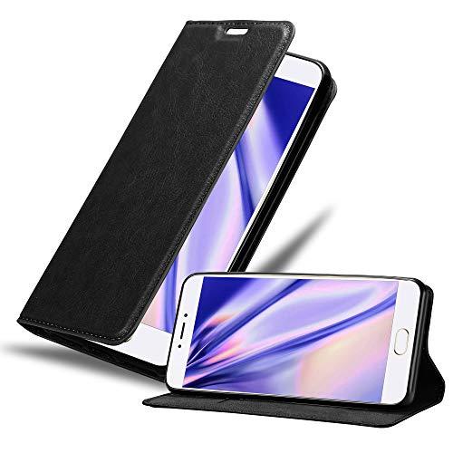 Cadorabo Hülle für MEIZU MX6 in Nacht SCHWARZ - Handyhülle mit Magnetverschluss, Standfunktion & Kartenfach - Hülle Cover Schutzhülle Etui Tasche Book Klapp Style