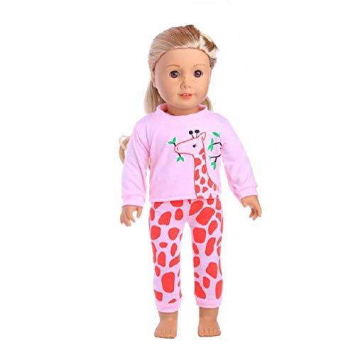 LILITRADE Pijama de muñeca ropa de dormir hermosa muñeca ropa de muñeca para niña americana de 18 pulgadas de viaje niña hermosa muñeca regalo para niños - jirafa rosa