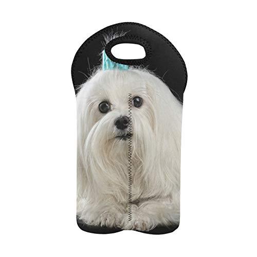 Weinbeutel für die Reise Eleganter maltesischer Hund Weinbeutel Doppelflaschenträger Flaschentasche Dickes Neopren Weinflaschenhalter hält Flaschen geschützt
