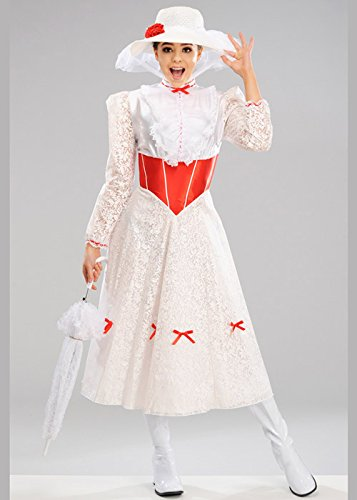 MAGICBOX Costume da Donna Bianco Jolly Holiday Mary Poppins Small (UK 8-10)