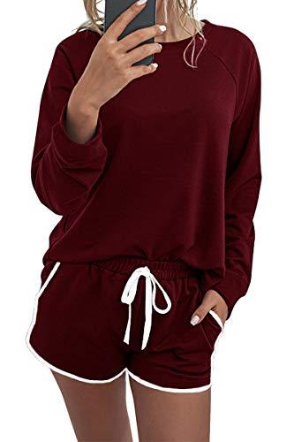 Necooer Damen Pyjama Set mit Taschen 2-teiliges Outfit Nachtwäsche Langarm-Oberteile L