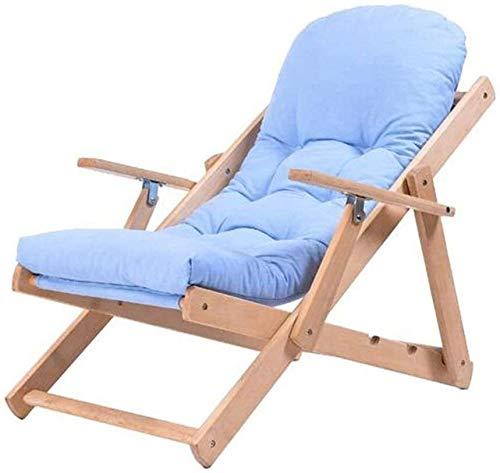 Sieste - Silla reclinable plegable de madera maciza con tejido reclinable simple, silla para balcón, silla de paseo (color: B)