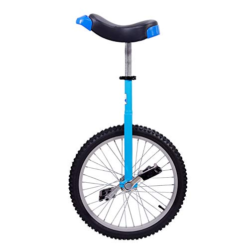 Keyzea 20 inch Unicycle for Adults and Kids,Adjustable Skidproof Outdoor Unicycle with Aolly Rim and Stand-Blue