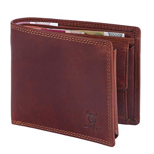 MATADOR® Geldbörse Herren Echt-Leder Braun mit RFID Schutz Portemonnaie für Männer Querformat Hochwertige Brieftasche mit Münzfach