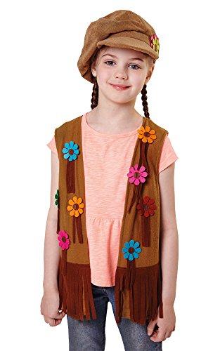 Bristol Novelty CF046 Chaleco Niña Hippie, Pequeño, 110-122 cm, Edad aprox 3-5 años