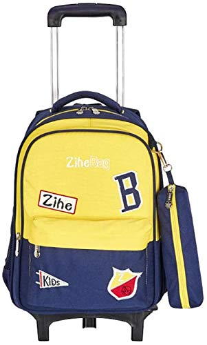 B/H Business Travel Wheeled Rolling Trolley Backpack,Primary school trolley school bag, 6-wheel detachable tow bar-Yellow,Rolling Backpack for Boys