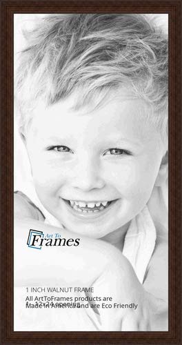 ArtToFrames 12x24 Inch Brown Picture Frame, This 1' Custom Wood Poster Frame is Walnut Stain on Hard Maple, for Your Art or Photos, WOM0066-60823-YWAL-12x24