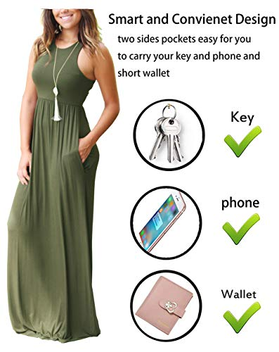 GRECERELLE Women's Sleeveless Long Maxi Dresses Plus Size with Side Pocket Army Green-M