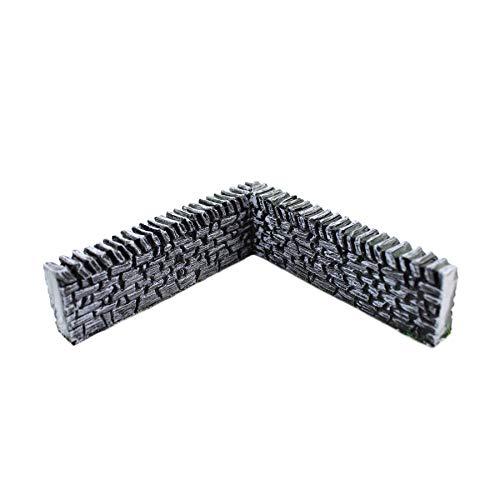 War World Gaming Steinmauer Eckteil Vorbemalt x 4 - 20 - 28 mm Tabletop Gelände Modell Diorama Modellbau Zaun Mauer Landschaftsbau Landschaft Geländbau