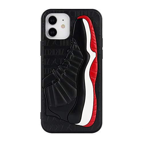 Hypebeast Jordan - Funda para zapatos inspirada en las zapatillas 3D, con textura y absorción de golpes, compatible con iPhone (rojo/negro 11, iPhone 12/12 Pro)