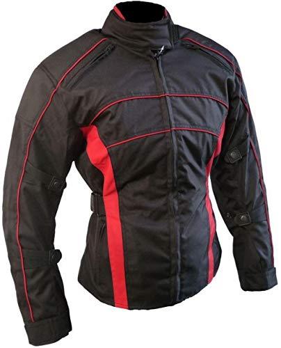 HEYBERRY Damen Motorrad Jacke Motorradjacke Schwarz Rot Gr.S