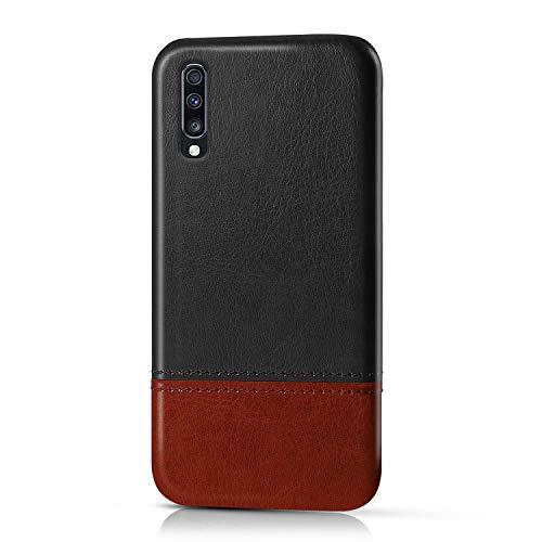 Suhctup Compatible pour Samsung Galaxy A90/A80 Coque Cuir Premium Ultra Mince Multicolore Étui Style de Design Facile Mode Housse Anti-Choc Antidérapant Protection Cover(Noir Marron)