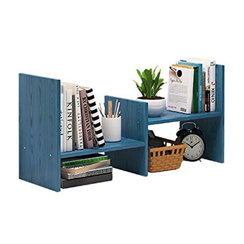 Librería de estilo Estantería escritorio de oficina Estante de almacenamiento de escritorio simple visualización del hogar del estante librero, L 25.2 'W x 6.7' H x 14.2' , azul Estante organizador de