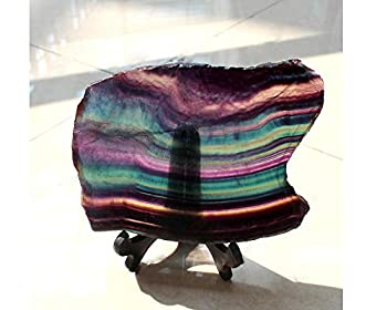 Rainbow Fluorite Slice Natural Healing Quartz Crystal Gemstone Specimen for Home Decoration