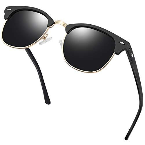 KANASTAL Gafas de Sol Hombre y Mujer Polarizadas Vintage Retro Medio Marco con Protección UV400